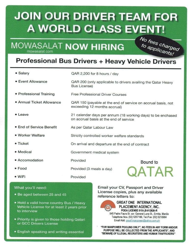 Filipino Bus Driver Jobs in Qatar